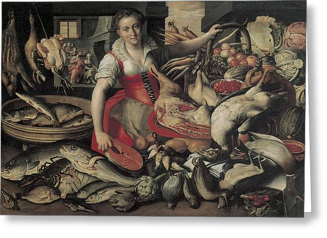 The Houses Greeting Cards - Kitchen with Chirst in the House of Martha and Mary Greeting Card by Vincenzo Campi