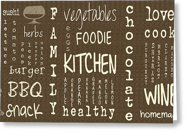 Wine-glass Greeting Cards - Kitchen Words Greeting Card by Nomad Art And  Design