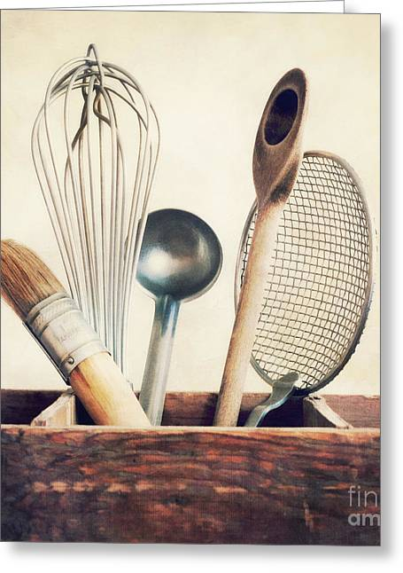 Paint Brush Greeting Cards - Kitchenware Greeting Card by Priska Wettstein