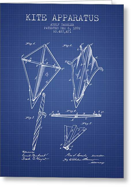 Kite Apparatus Patent From 1892 - Blueprint Greeting Card by Aged Pixel
