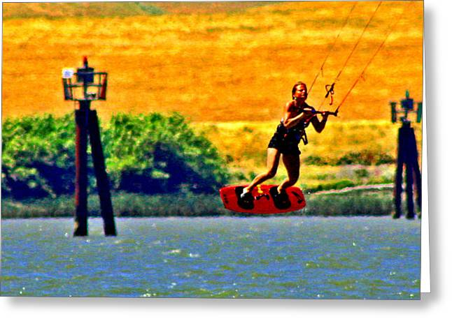 Kite Boarding Greeting Cards - Kite Board Hockey Greeting Card by Joseph Coulombe
