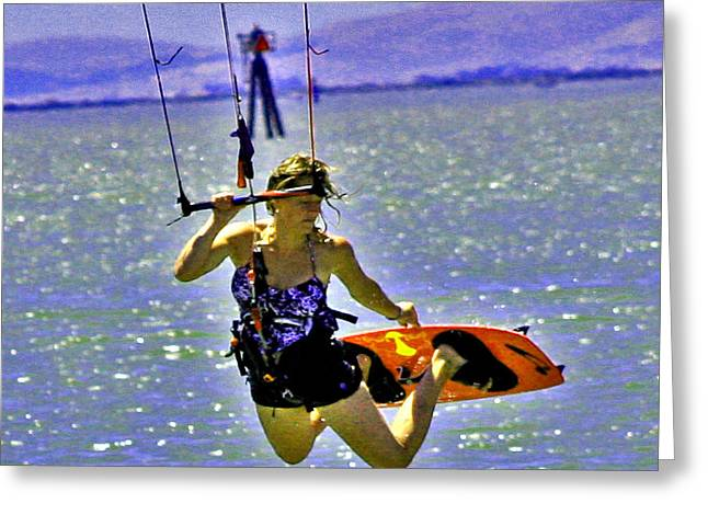 Surfing Photos Digital Art Greeting Cards - A Kite Board Hoot Greeting Card by Joseph Coulombe