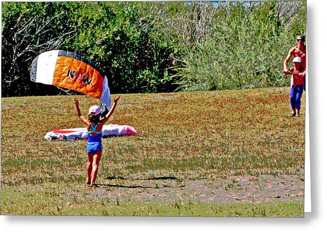 Kite Boarding Digital Art Greeting Cards - Kite Board Training Greeting Card by Joseph Coulombe