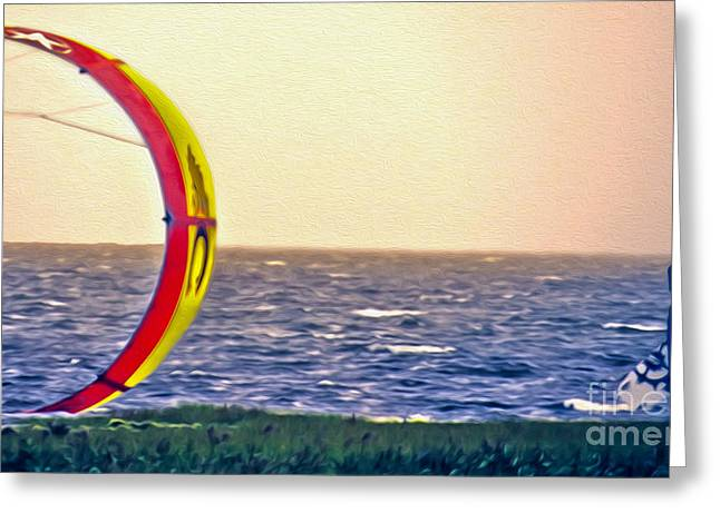 Kite Surfing Greeting Cards - Kite Boarder 2 Greeting Card by Dawn Gari