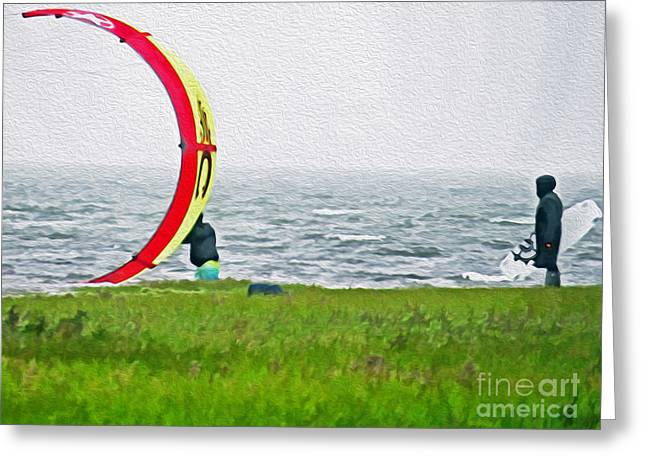 Kite Surfing Greeting Cards - Kite Boarder Greeting Card by Dawn Gari
