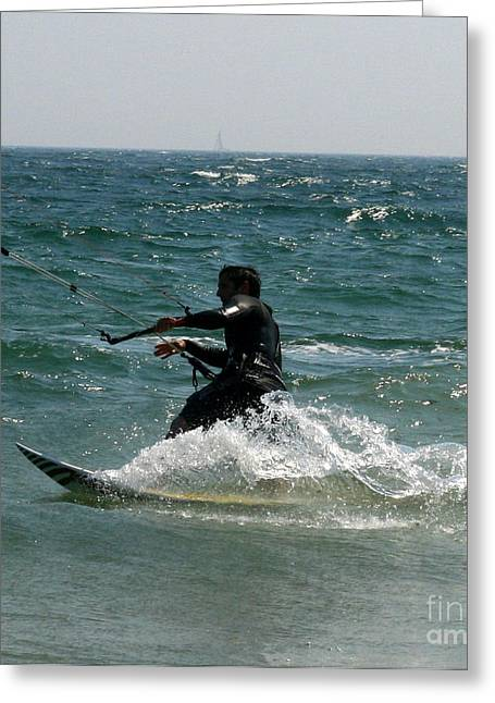 Kite Boarding Greeting Cards - Kite Boarding Fun  Greeting Card by Neal  Eslinger