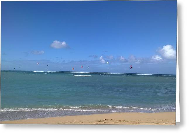 Kiteboarding Greeting Cards - Kite Boarding On The Waters Of Maui Greeting Card by Sherry Barcelo