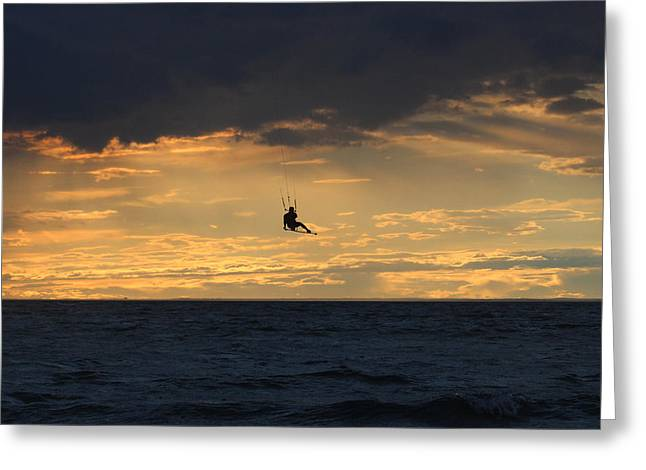 Kite Boarding Greeting Cards - Kite Boarding West Meadow Beach New York Greeting Card by Bob Savage