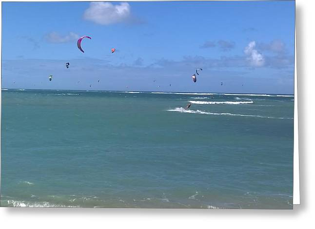 Kiteboarding Greeting Cards - Kite Boards In Flight  Greeting Card by Sherry Barcelo