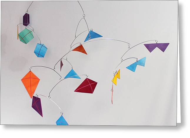 Ceiling Mobile Greeting Cards - Kite Festival Art Mobile Greeting Card by Carolyn Weir