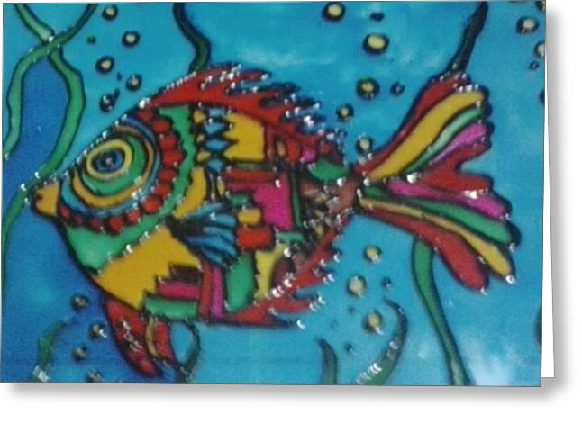 Animals Glass Art Greeting Cards - Kite fish Greeting Card by Meghna Suvarna