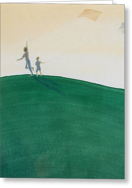 Kite Greeting Cards - Kite Flying, 2000 Wc On Paper Greeting Card by Lincoln Seligman
