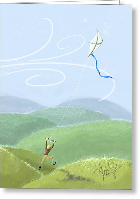 Recently Sold -  - Kite Greeting Cards - Kite Flying Greeting Card by Abigail Kraft