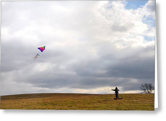 Kite Greeting Cards - Kite Flying Greeting Card by Bill Cannon