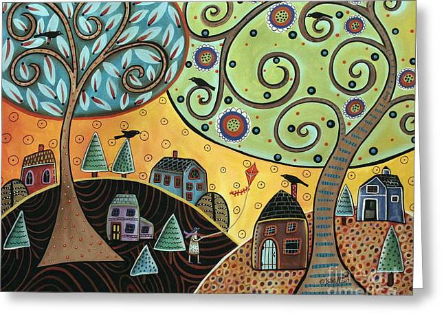 Folk Art Landscapes Greeting Cards - Kite Lady Greeting Card by Karla Gerard