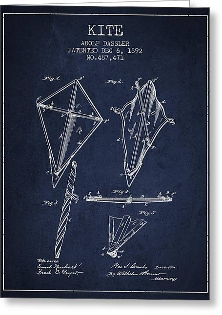 Child Toy Greeting Cards - Kite Patent from 1892 Greeting Card by Aged Pixel