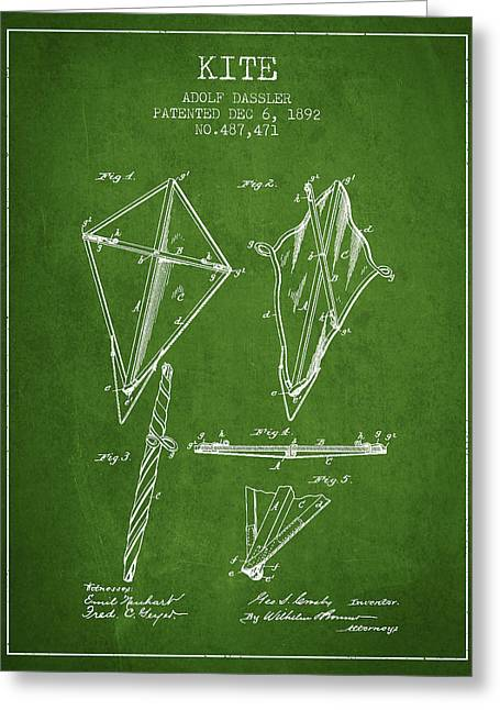 Kite Patent From 1892 - Green Greeting Card by Aged Pixel
