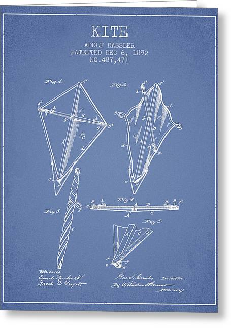 Child Toy Greeting Cards - Kite Patent from 1892 - Light Blue Greeting Card by Aged Pixel