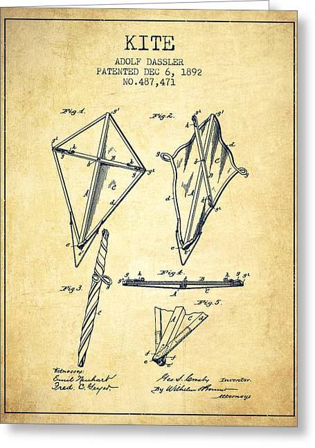 Child Toy Greeting Cards - Kite Patent from 1892 - Vintage Greeting Card by Aged Pixel