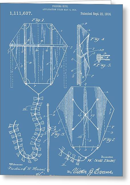 Kite Greeting Cards - Kite Patent On Blue Greeting Card by Dan Sproul