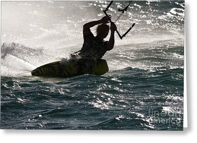 Kite Boarding Greeting Cards - Kite Surfer 02 Greeting Card by Rick Piper Photography