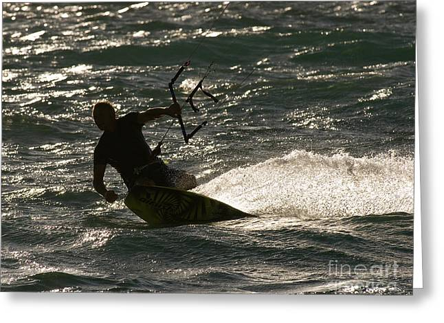 Kite Boarding Greeting Cards - Kite Surfer 03 Greeting Card by Rick Piper Photography