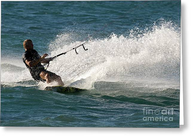 Kite Boarding Greeting Cards - Kite Surfer 04 Greeting Card by Rick Piper Photography
