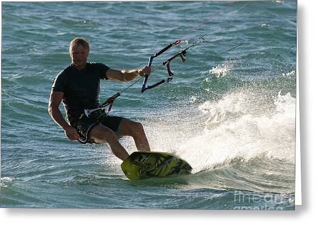 Kite Boarding Greeting Cards - Kite Surfer 05 Greeting Card by Rick Piper Photography