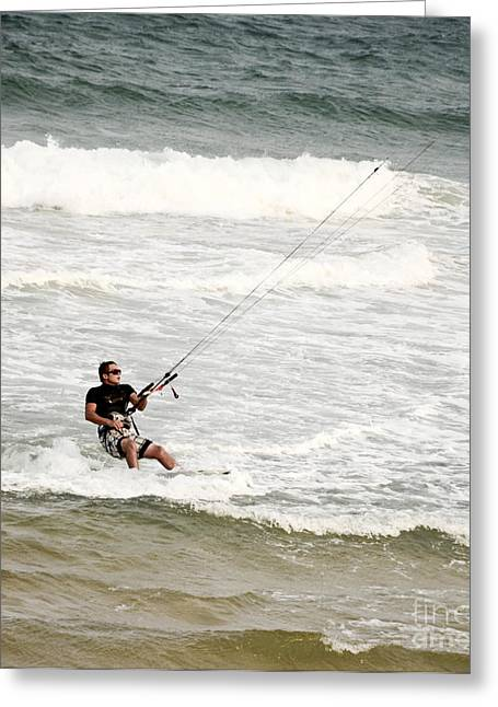 Kiteboarding Greeting Cards - Kite Surfer 5 Greeting Card by Christopher Edmunds
