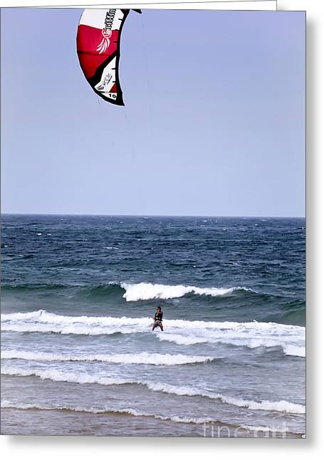 Kite Surfing Greeting Cards - Kite Surfer 6 Greeting Card by Christopher Edmunds