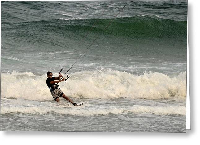 Kiteboarding Greeting Cards - Kite Surfer 7 Greeting Card by Christopher Edmunds