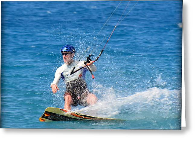 Kitesurfer Greeting Cards - Kite Surfer in Hawaii Greeting Card by Lori Seaman