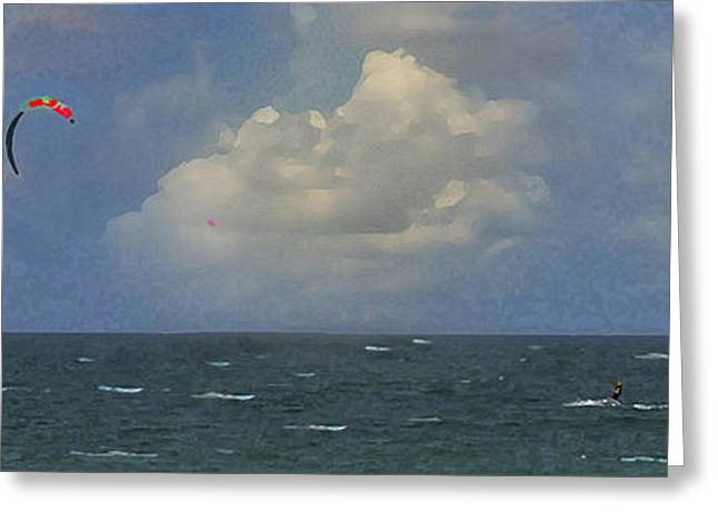 Kite Surfer Greeting Card by Michael Moschogianis