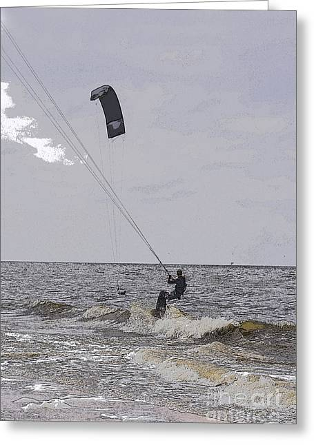Kite Surfer Greeting Card by Patricia Hofmeester