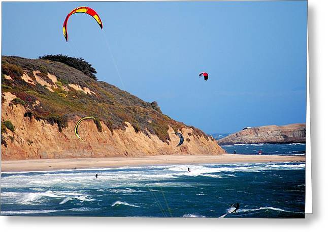 Ano Nuevo Greeting Cards - Kite Surfers Greeting Card by Bob Wall