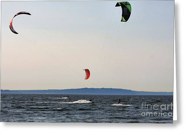 Kite Surfing Greeting Cards - Kite Surfing 2 Greeting Card by Rick Lipscomb
