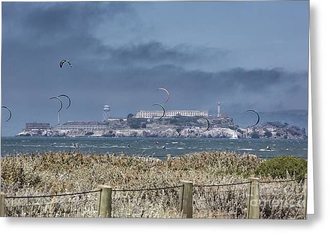 Kite Surfing Greeting Cards - Kite Surfing Alcatraz Greeting Card by Chuck Kuhn