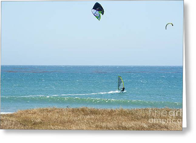 Recently Sold -  - China Cove Greeting Cards - Kite Surfing and Wind Surfing Central Coast San Simeon California Greeting Card by Artist and Photographer Laura Wrede