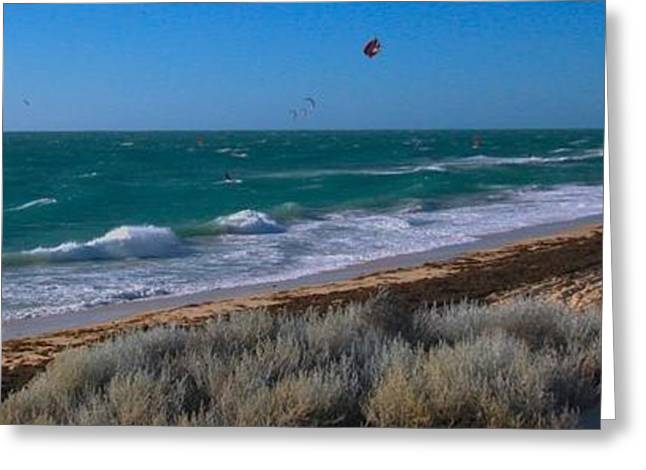Kite Surfing Greeting Cards - Kite Surfing Greeting Card by Andrew Connolly