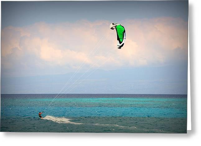 Kite Surfing Greeting Cards - Kite Surfing at Kiholo Greeting Card by Lori Seaman