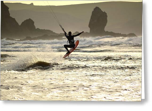 Kite Surfing Greeting Cards - Kite Surfing Bigbury-on-Sea Greeting Card by PhotoMan Bryan WB