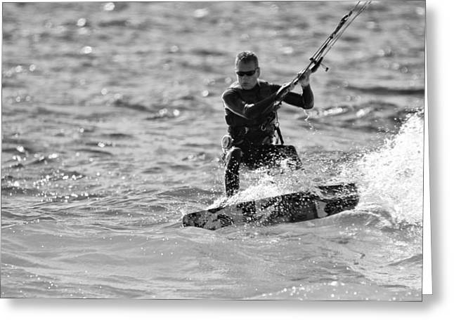 Kite Surfing Greeting Cards - Kite Surfing Black And White Greeting Card by Dan Sproul