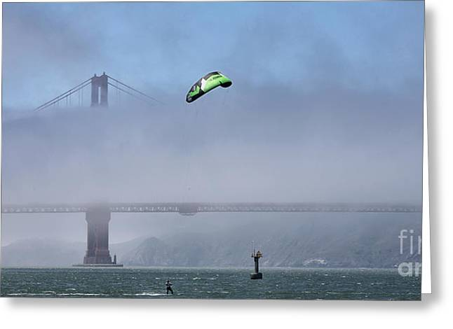 Kite Surfing Greeting Cards - Kite Surfing Golden Gate Greeting Card by Chuck Kuhn