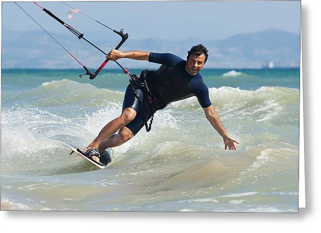 Kite Boarding Greeting Cards - Kite Surfing In Front Of Hotel Dos Greeting Card by Ben Welsh