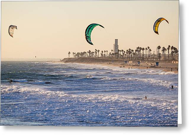 Kite Surfing Greeting Cards - Kite Surfing in Huntington Beach Greeting Card by Nadim Baki
