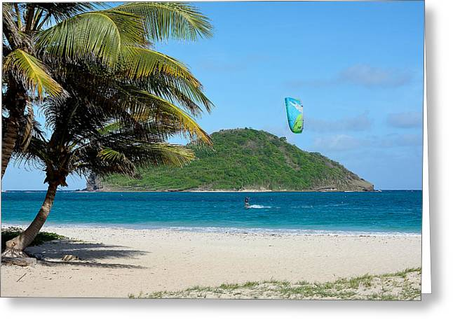Kite Surfing Greeting Cards - Kite Surfing in St. Lucia Greeting Card by Brendan Reals