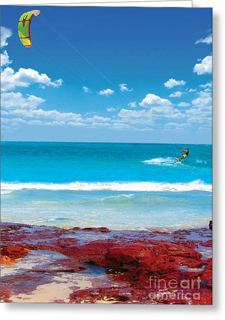Kite Surfing Greeting Cards - Kite-surfing in the Caribbean Greeting Card by Sylvie Bouchard