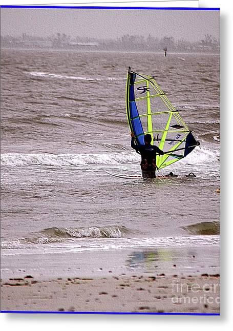 Fort Meyers Greeting Cards - Kite Surfing Greeting Card by Kathleen Struckle