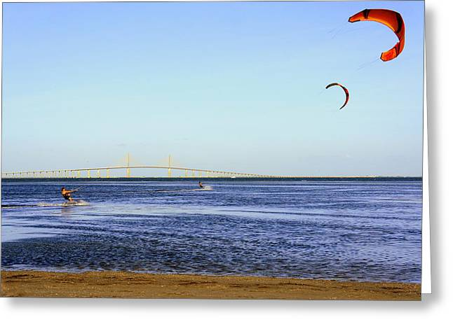 St Petersburg Florida Greeting Cards - Kite Surfing Greeting Card by Laurie Perry