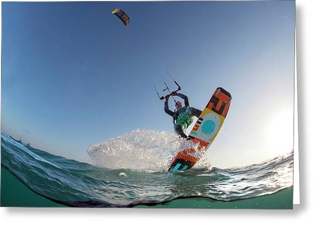 Kite Surfing Greeting Card by Louise Murray